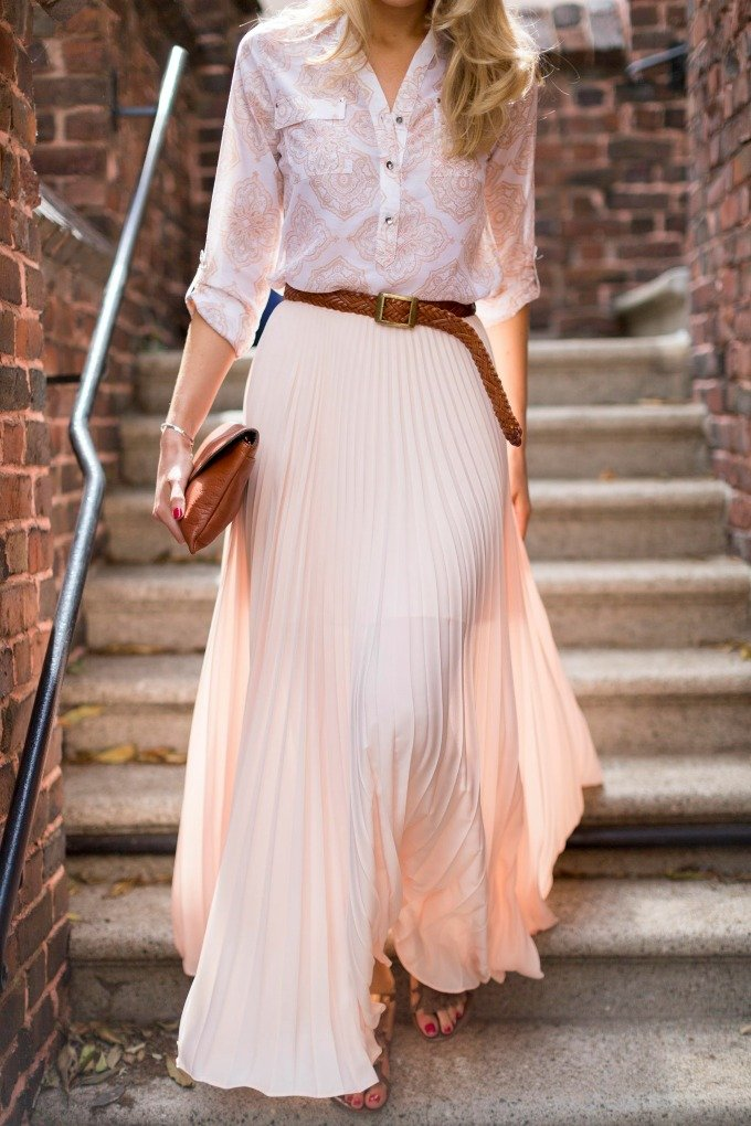 belt maxi skirt button down