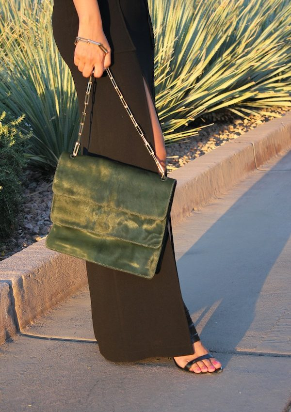 stuart weitzman green pony hair bag