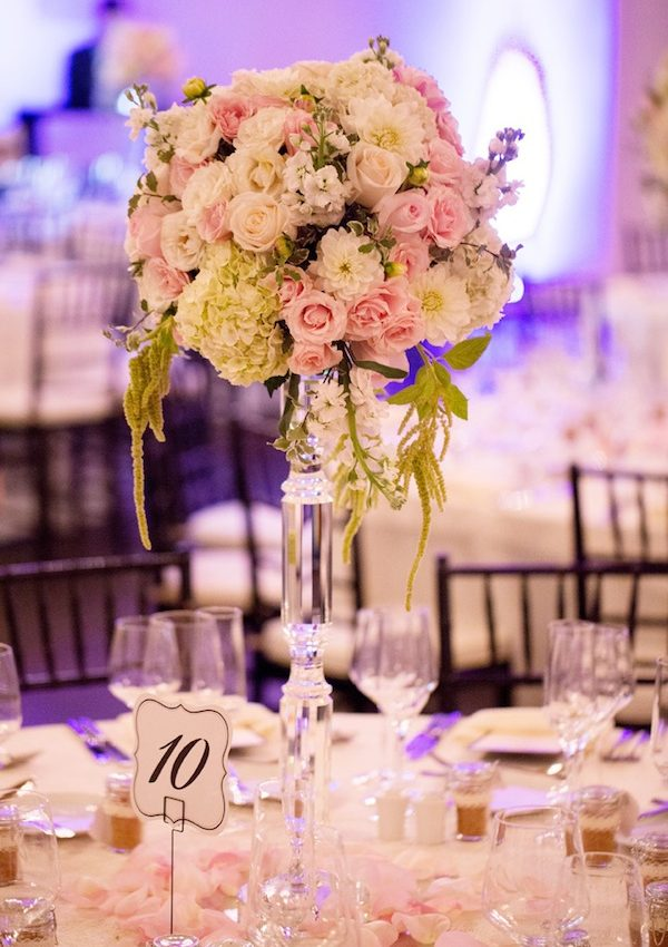 blush cream dahlia hydrangea wedding flower centerpiece © Jane Z Photography