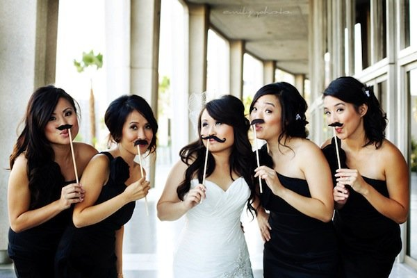mustache on a stick wedding trend