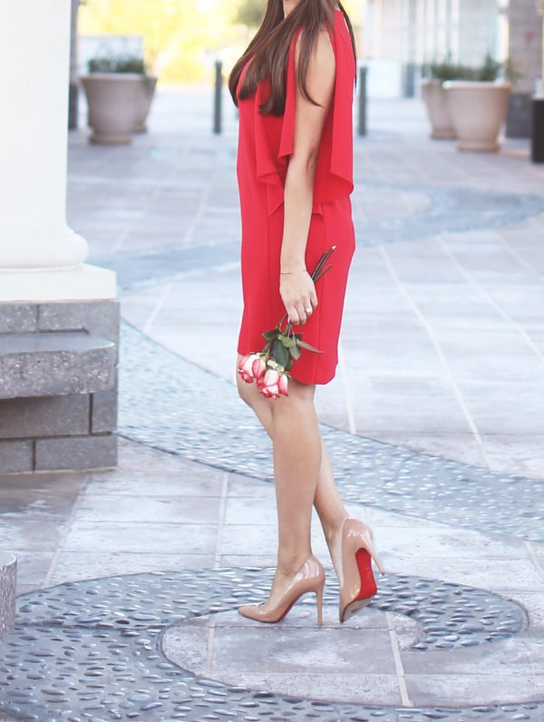 Rred cocktail dress and nude louboutin pigalles. Perfect Valentine's Day outfit idea