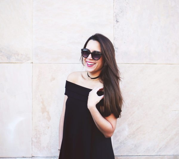 The perfect off the shoulder LBD. It's bump-friendly too! Click to see even more cute and stylish off the shoulder black dresses