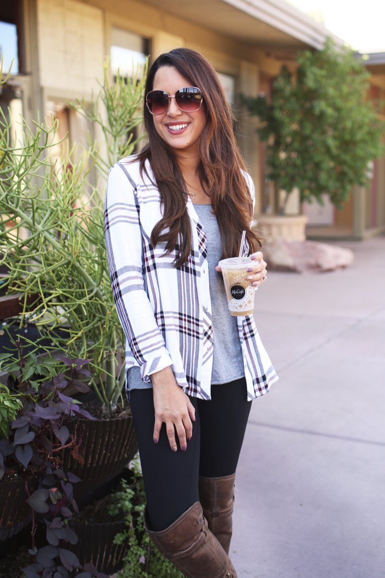 rails hunter plaid shirt with leggings and over the knee boots