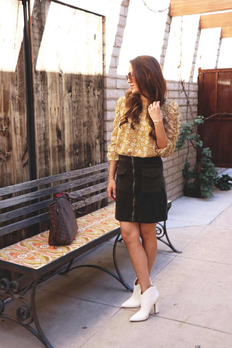 mustard yellow top and olive skirt | How to wear mustard yellow, styling tips from Lifewithmar.com