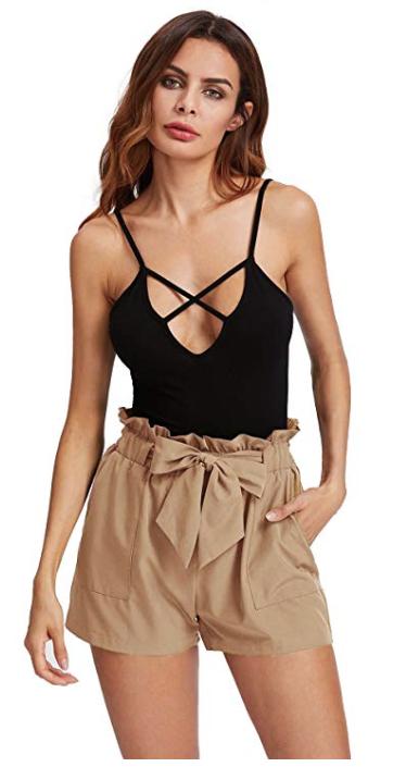 romwe casual elastic waist shorts review, amazon fashion spring haul