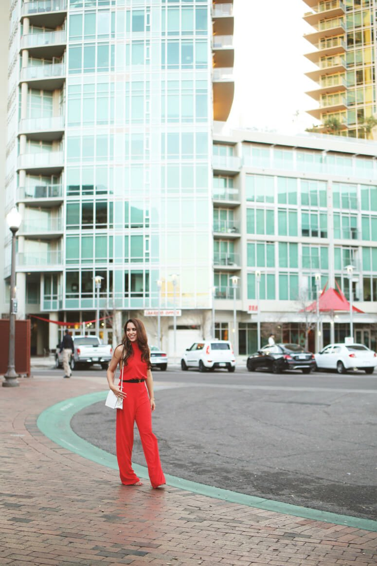 lulu's red halter jumpsuit