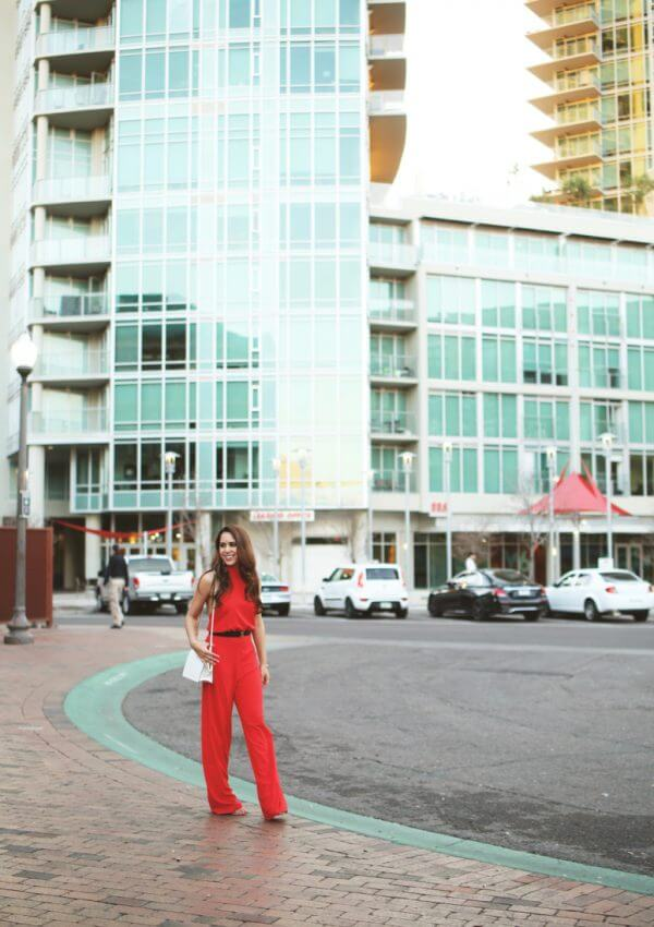 classy red halter jumpsuit outfit