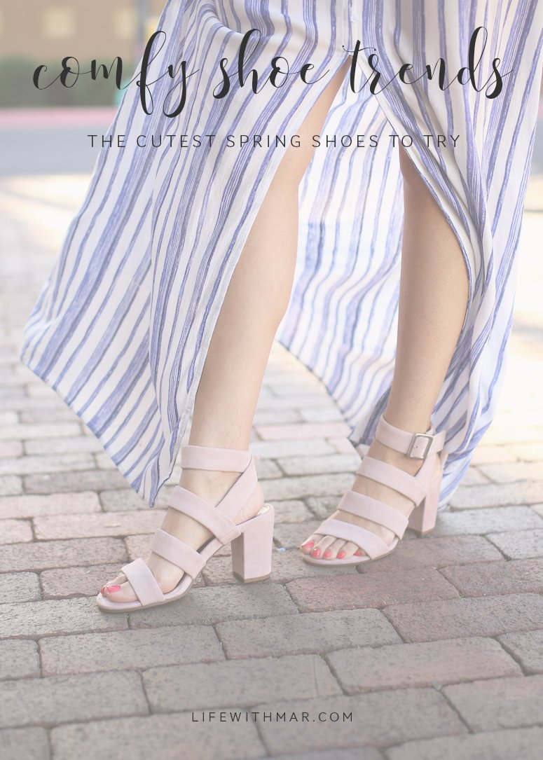comfy shoe trends: the top spring 2019 shoe trends to try. Click to see this top 6 picks that are cute and comfortable too!