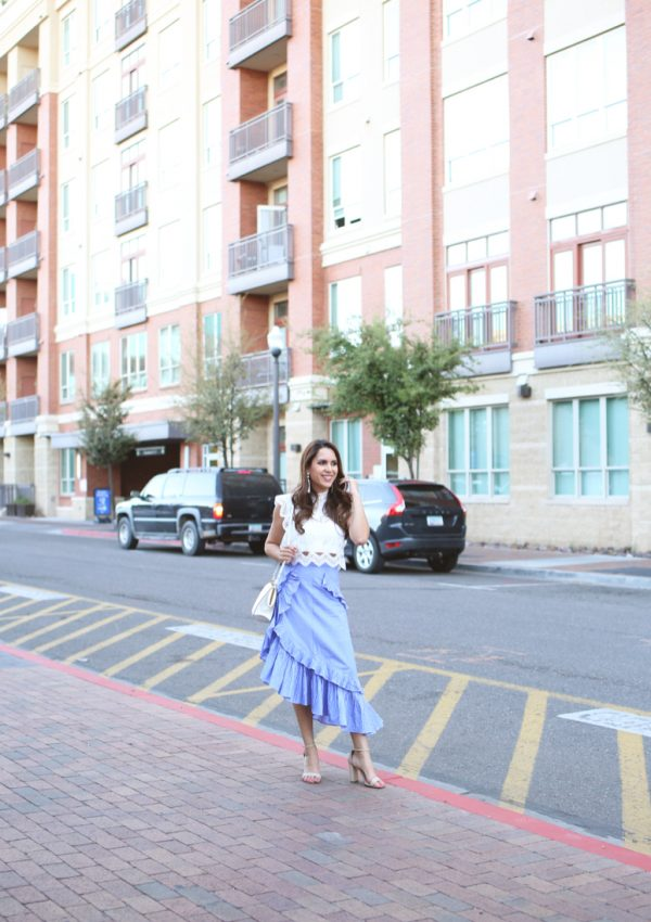 blue tiered chicwish ruffle skirt