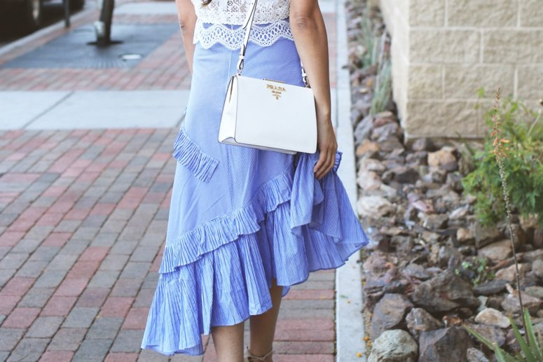 blue applause of ruffle tiered skirt from chicwish