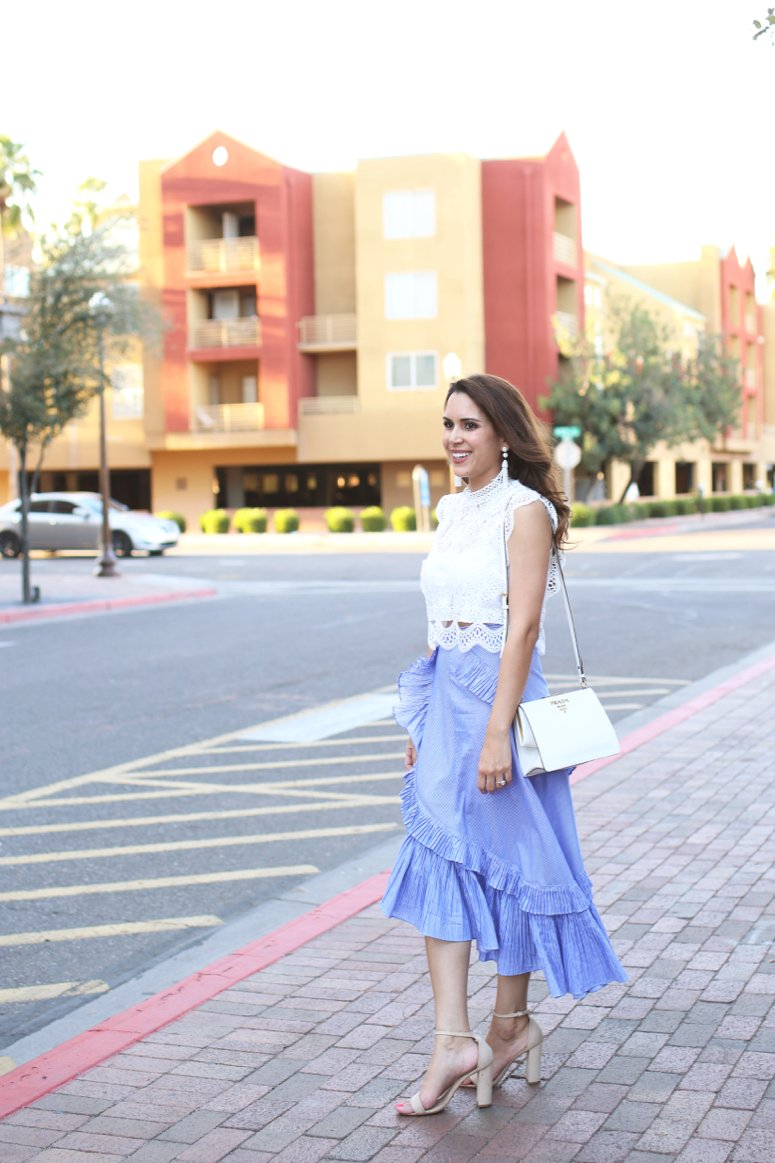 blue tiered ruffle skirt