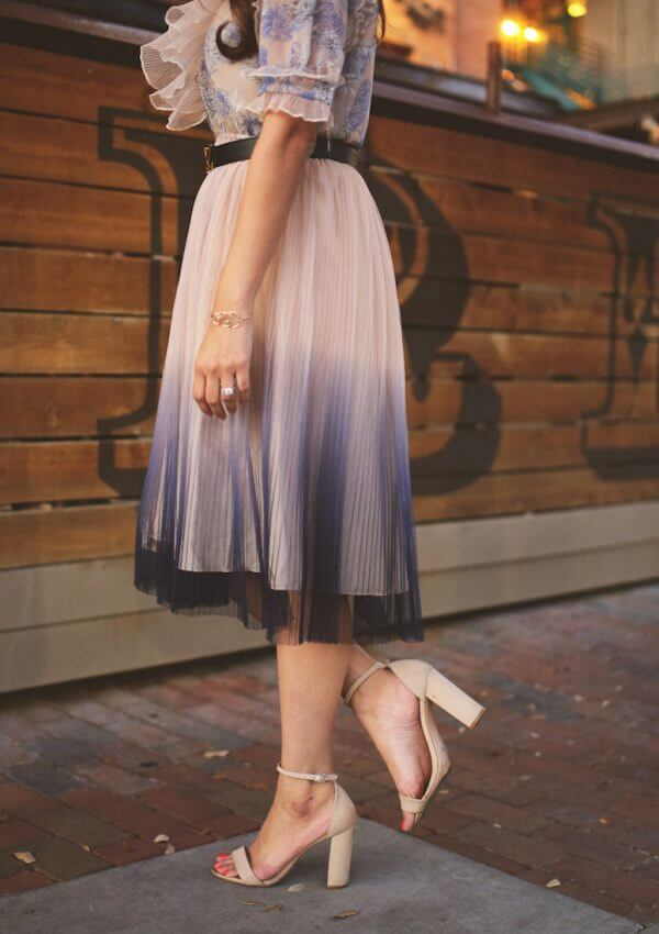 chicwish gradient pleated tulle dress