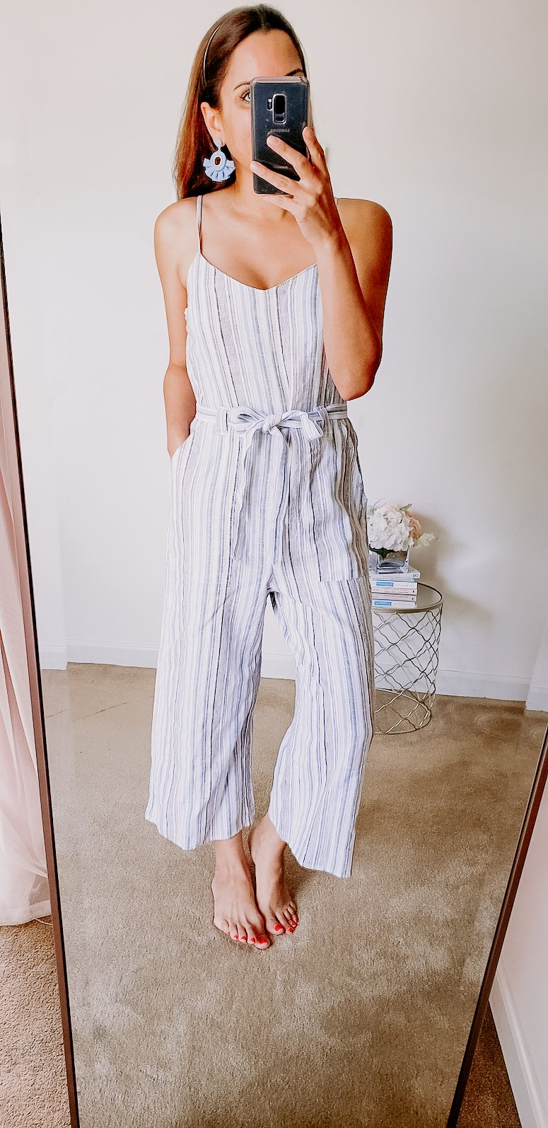 target blue and white jumpsuit