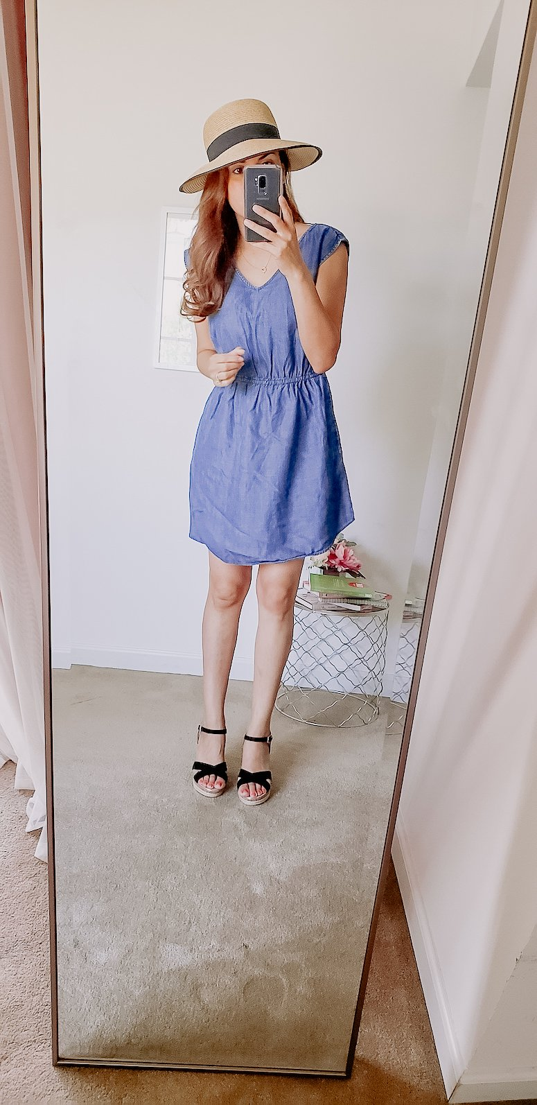 target chambray dress and bow hat