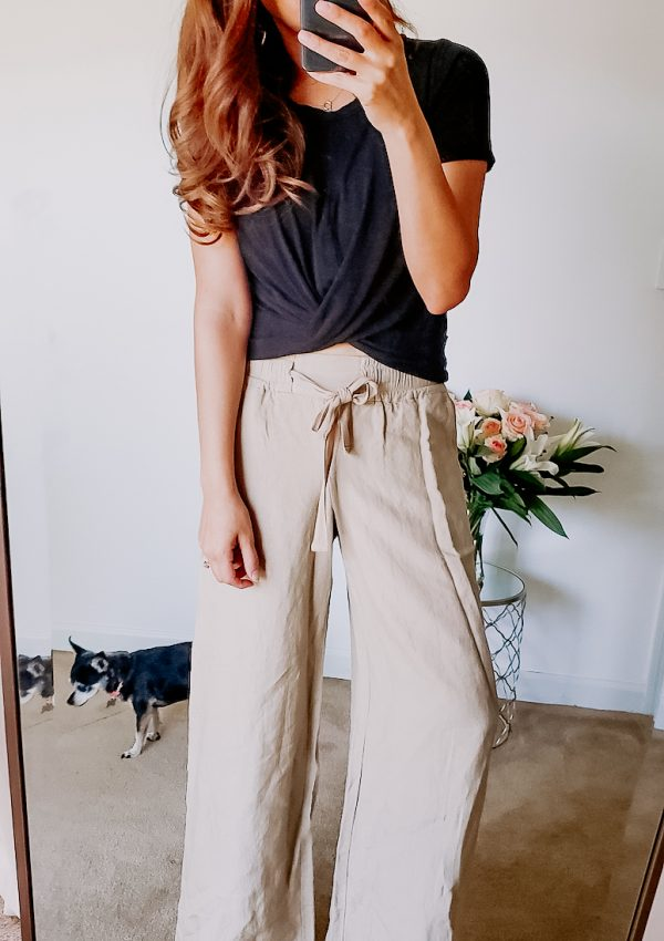 target linen wide leg pants with black crop top