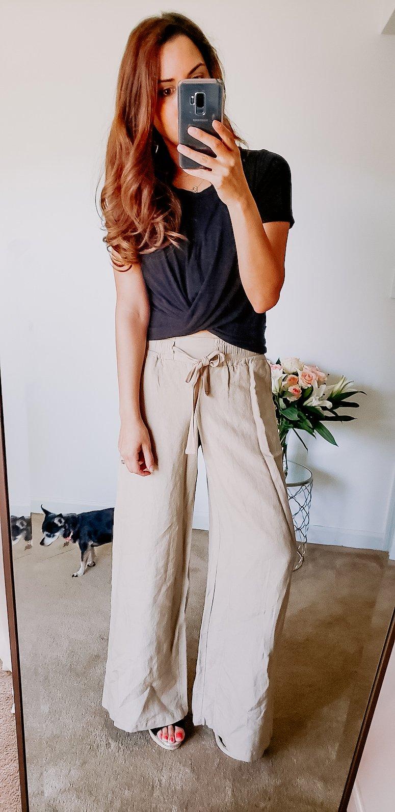 target linen wide leg pants with black crop top
