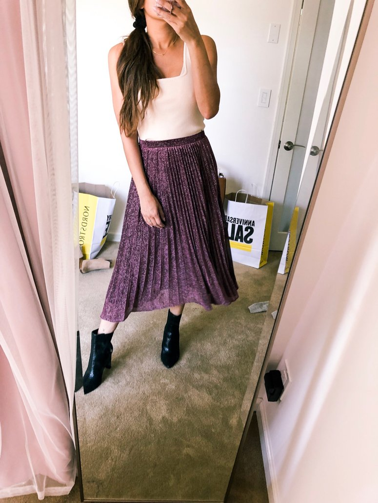 pleated midi skirt nordstrom anniversary sale blogger picks