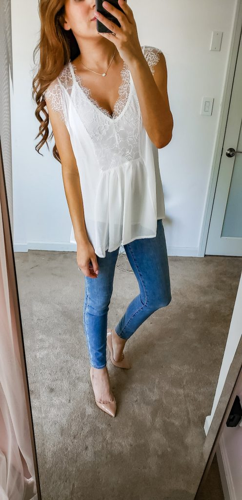 white cami and jeans