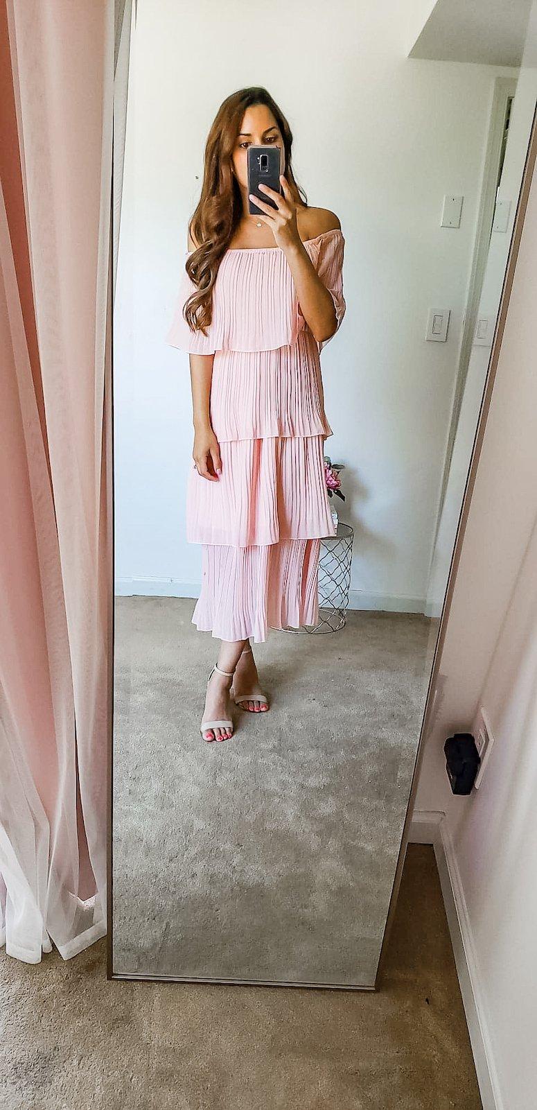 amazon pink tiered maxi dress