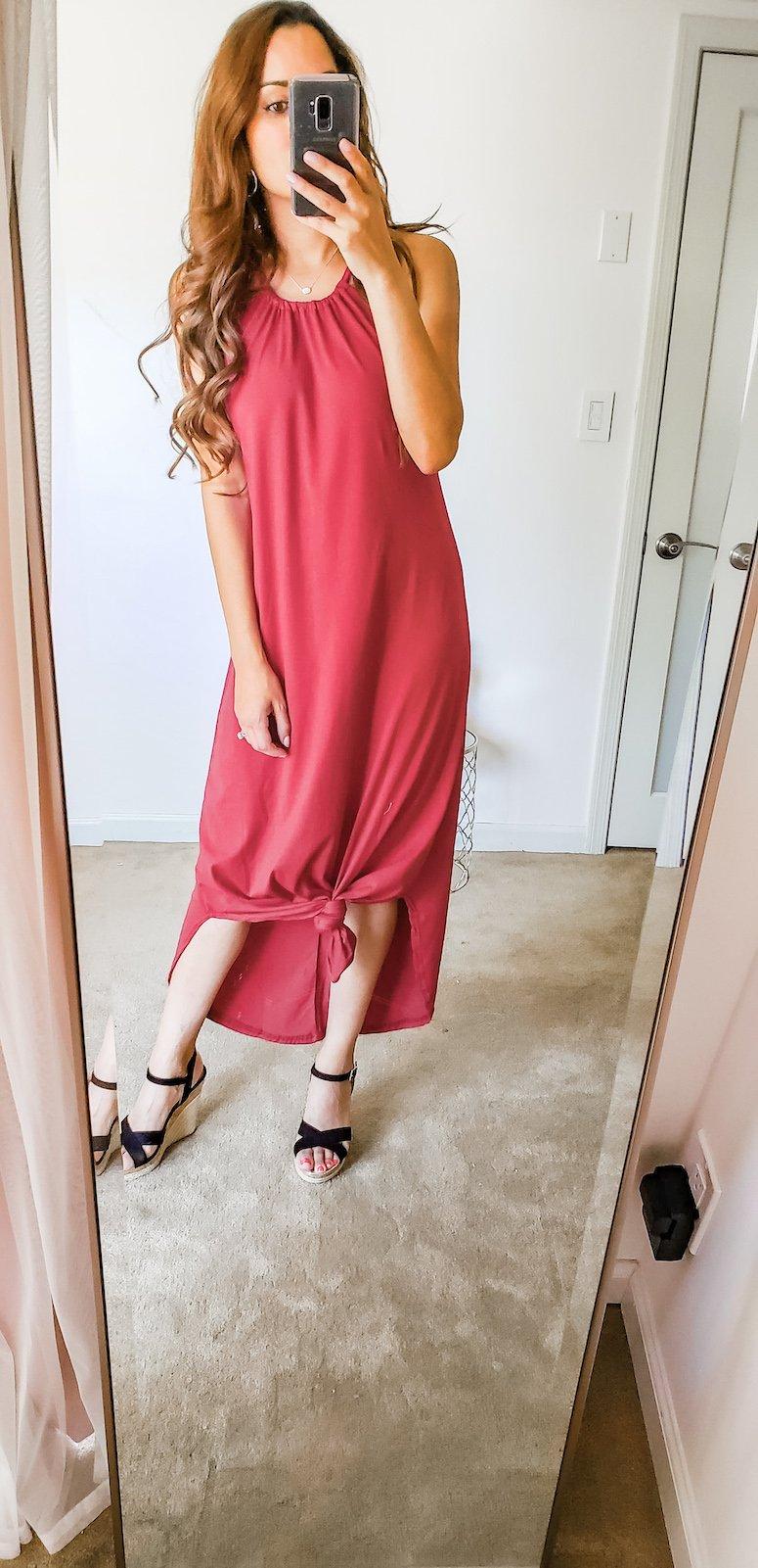 amazon burgundy maxi dress