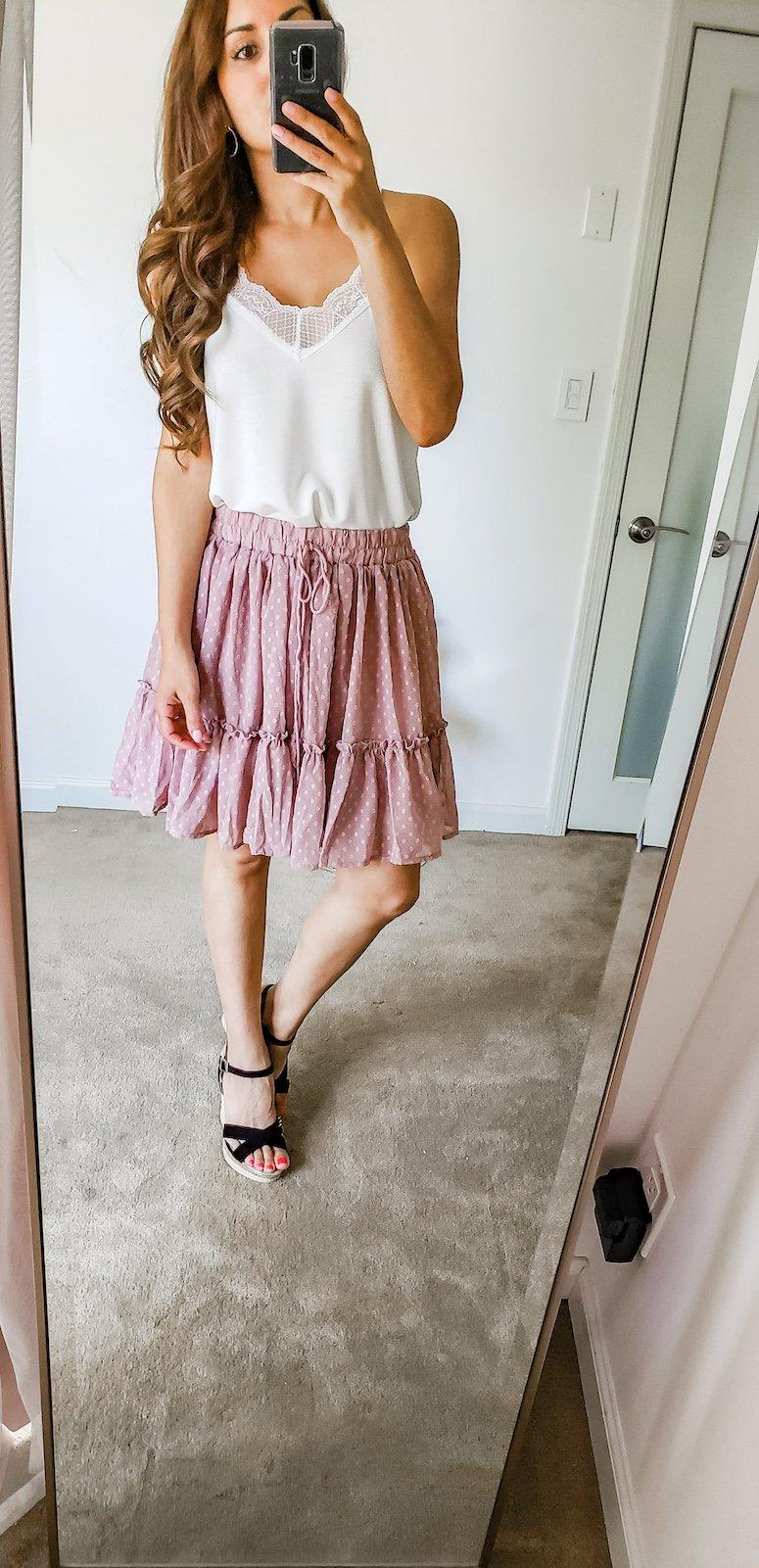 pink ruffle skirt and white cami