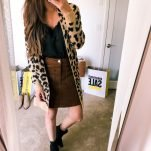 leopard print cardigan and black cami with booties outfit