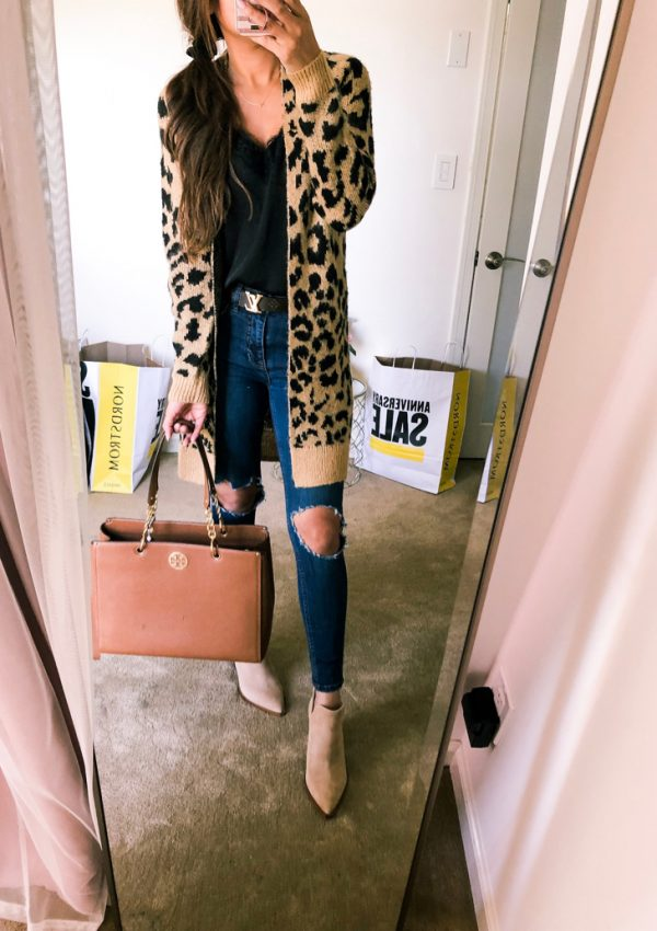 BP LEOPARD PRINT cardigan and tory burch tote
