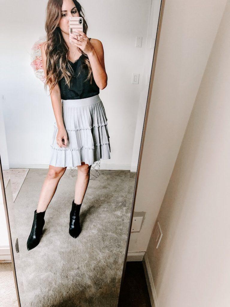 amazon fall fashion haul pleated mini skirt