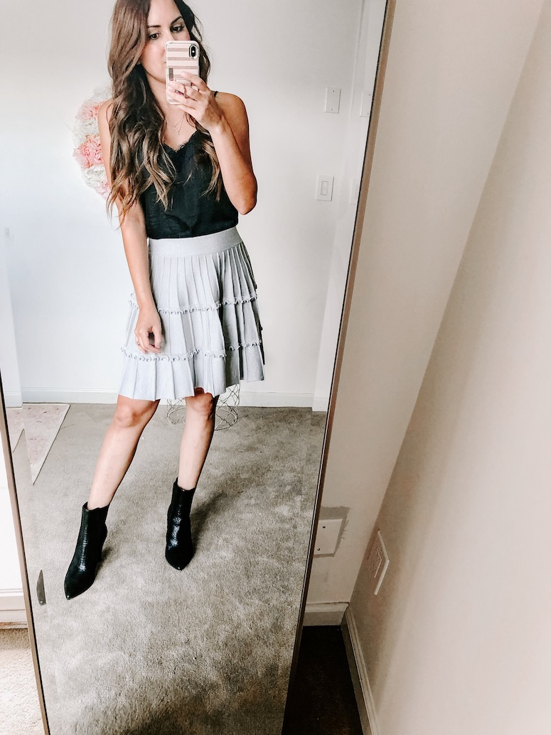 amazon fall fashion haul pleated mini skirt