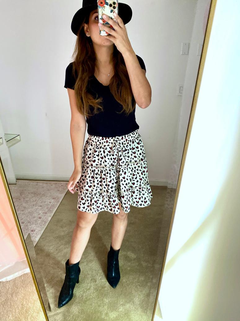 amazon print skirt with booties