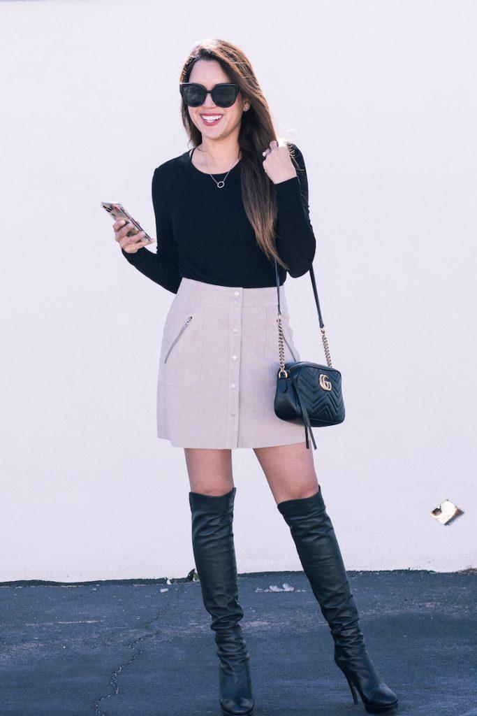 blanknyc faux suede skirt