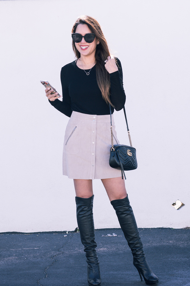 blanknyc faux suede skirt with over the knee boots