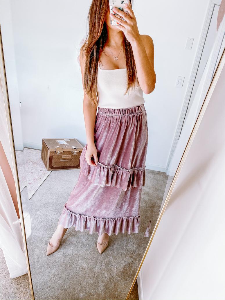 Chicwish velvet maxi skirt fall skirt outfits