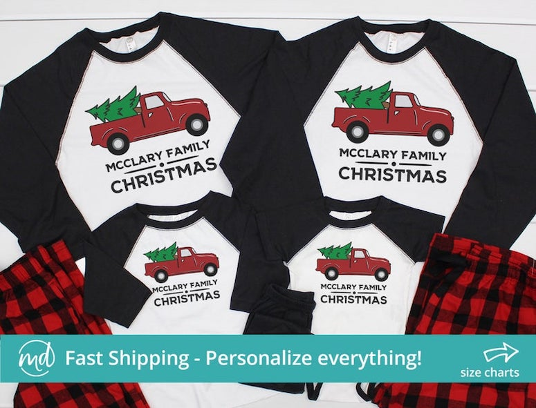 personalized christmas pajamas on etsy