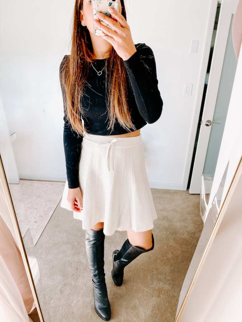 Chicwish knit skirt with black over the knee boots
