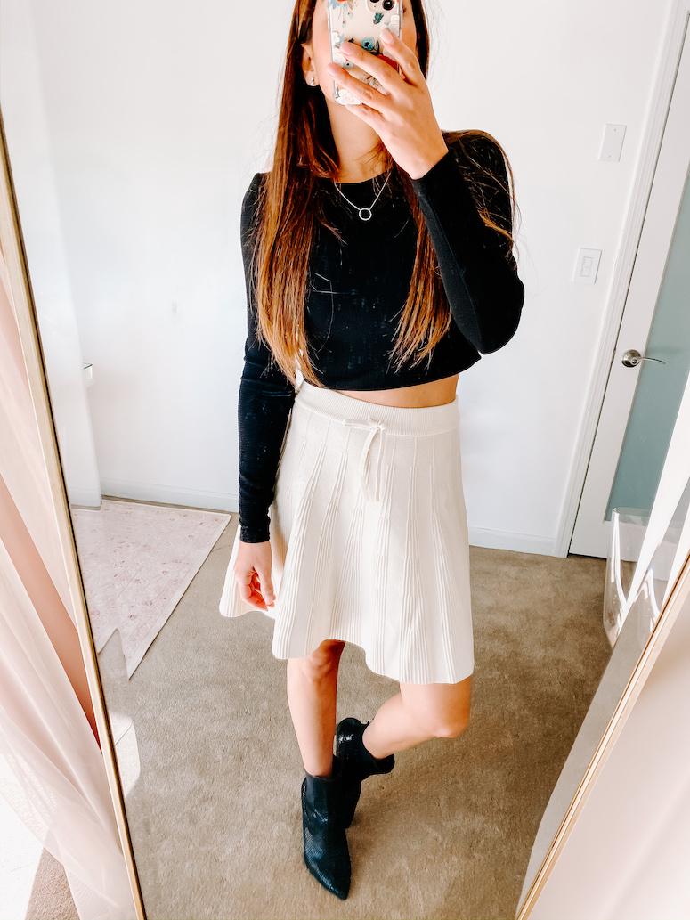 cream midi skirt with black booties