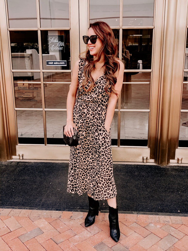 cheetah print dress and black booties