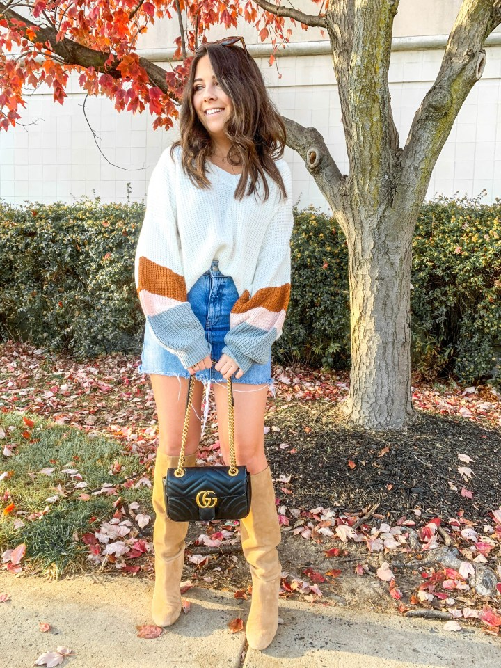 cute fall outfit jean skirt and sweater-casual thanksgiving outfit ideas
