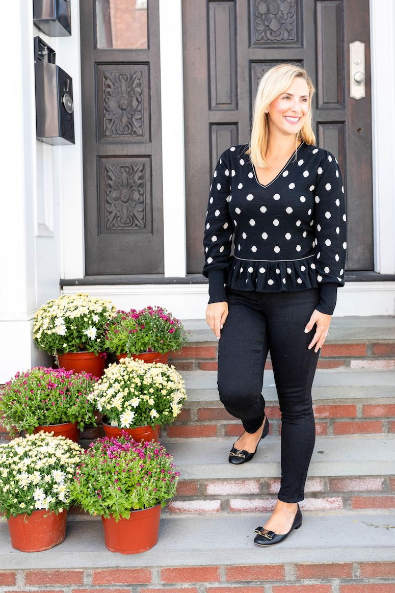 rent the runway outfits for fall polka dot top