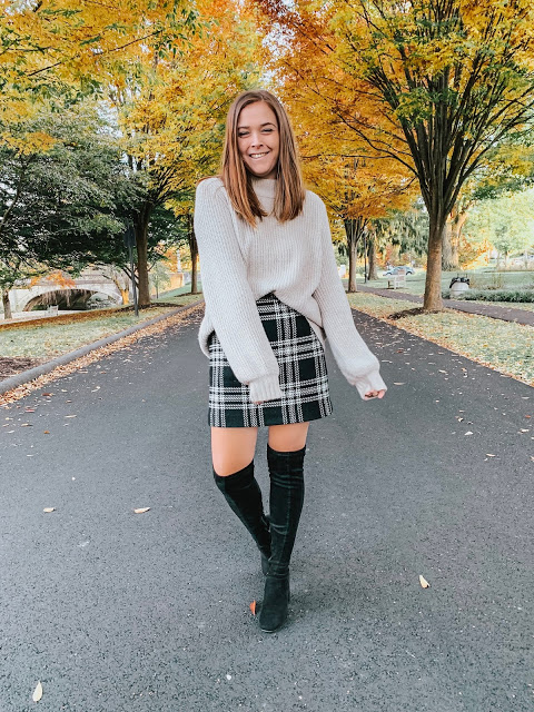 plaid skirt with sweater thanksgiving outfit