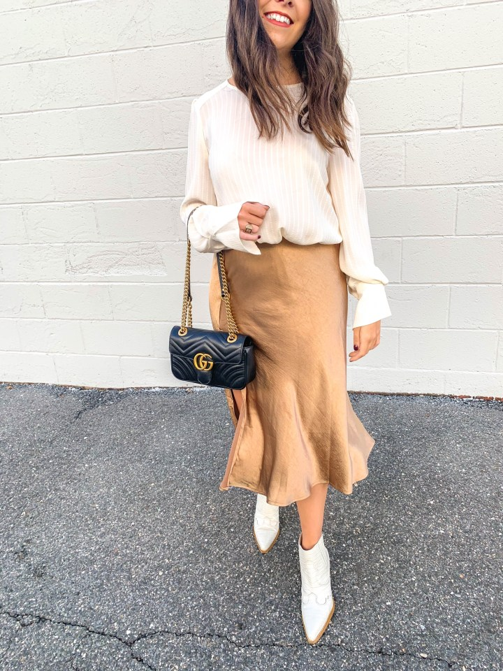 slip skirt outfit for fall- cute thanksgiving outfit ideas