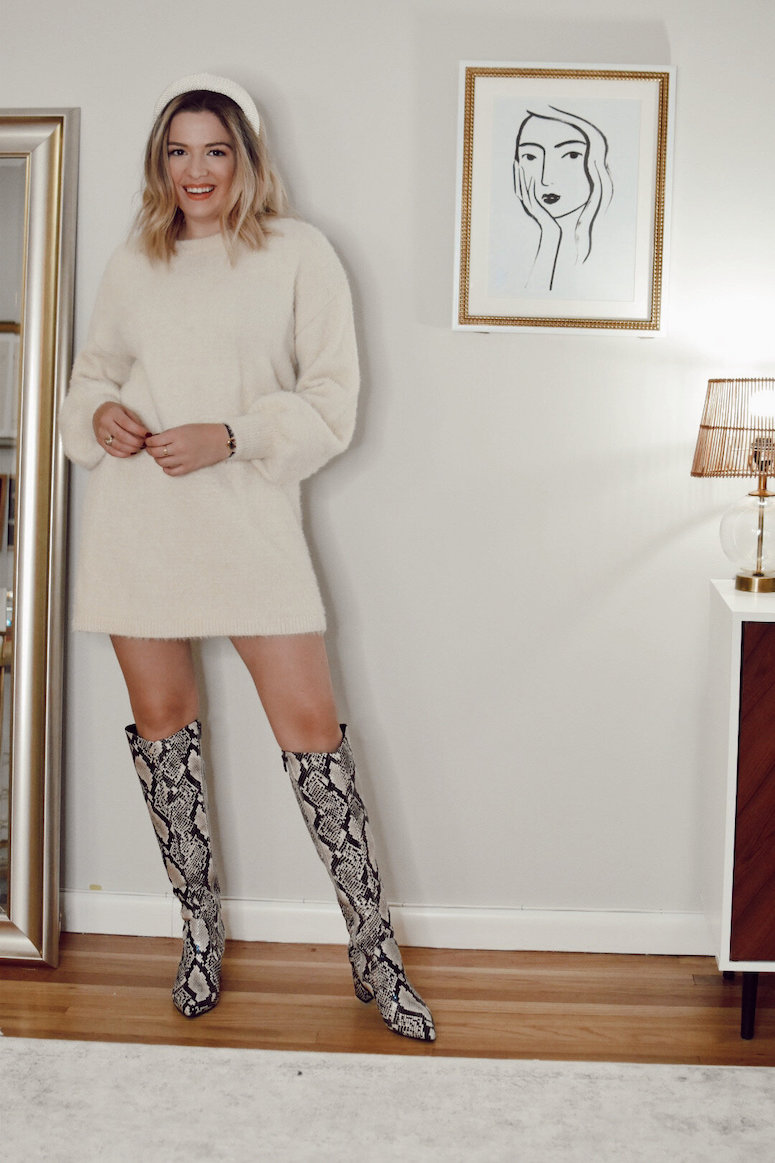 snakeskin boot and sweater dress