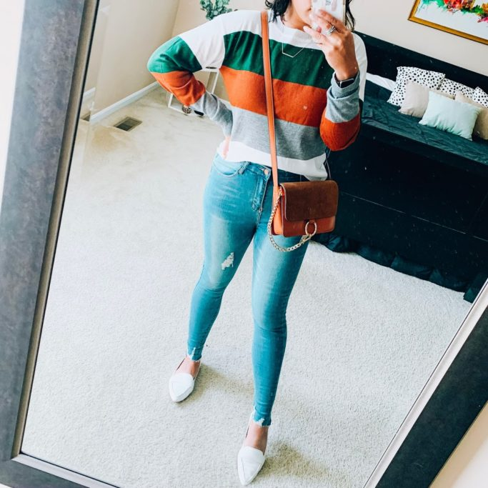 striped sweater with jeans outfit