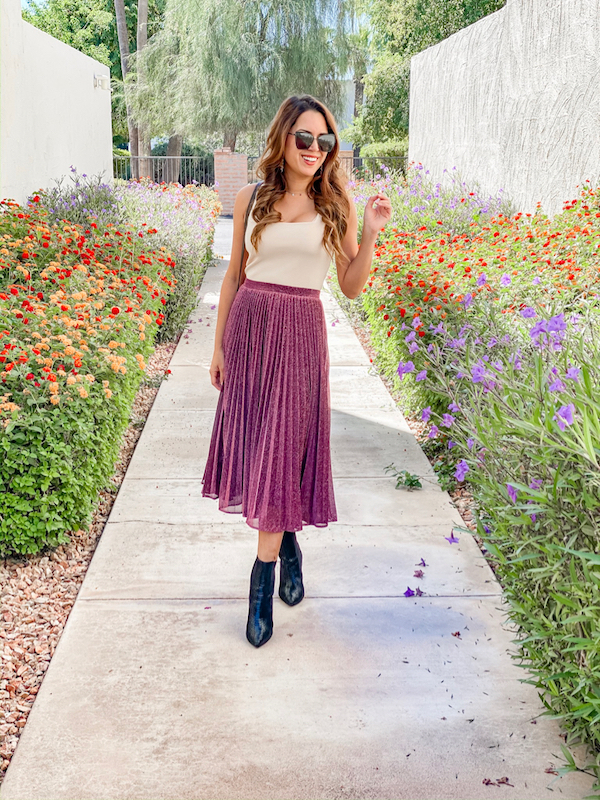 fall skirt outfit metallic shimmer midi skirt with booties