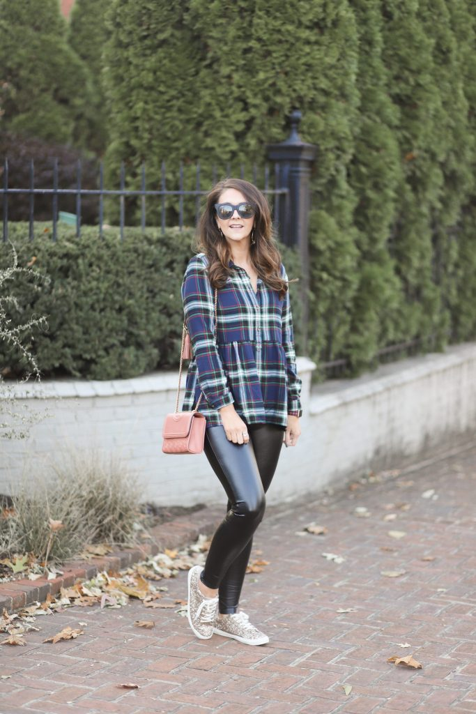 liquid leggings with flannel and sparkly sneakers
