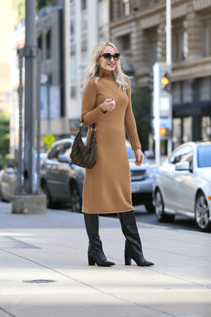 the perfect thanksgiving outfit idea sweater dress with boots Fendi bag
