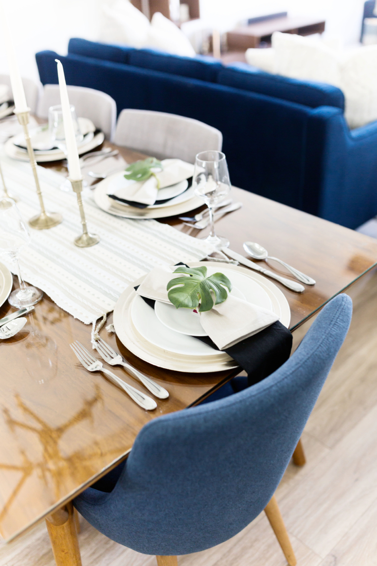 easy elegant neutral dinner party table setting