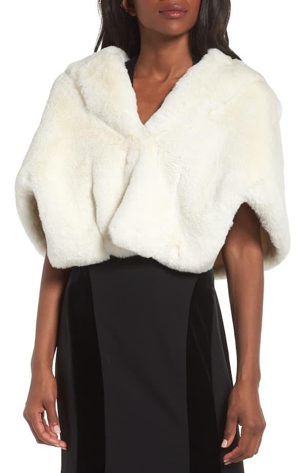 eliza j faux fur capelet | winter wedding coverup