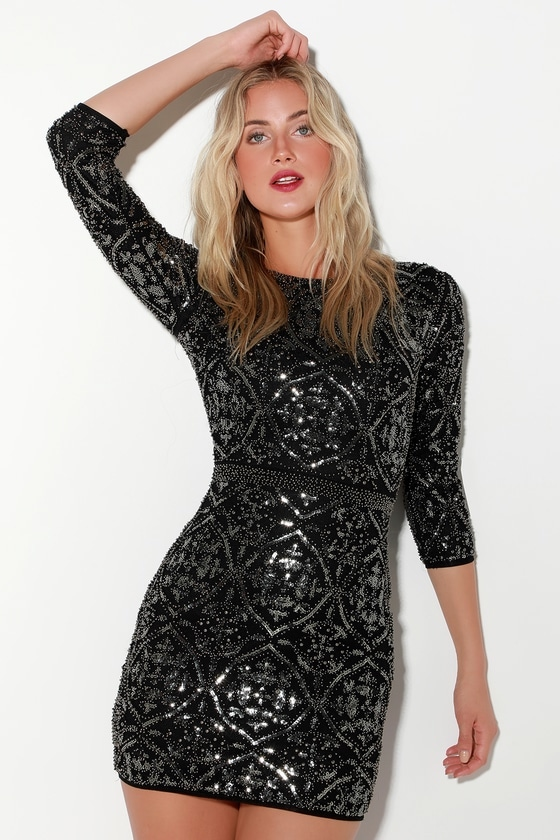 black beaded sequin body con dress Lulus | New Year's Eve Wedding guest outfit