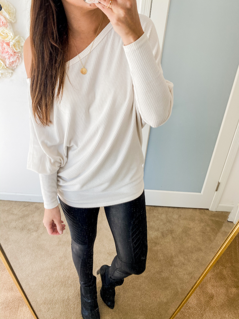 white amazon off the shoulder sweater